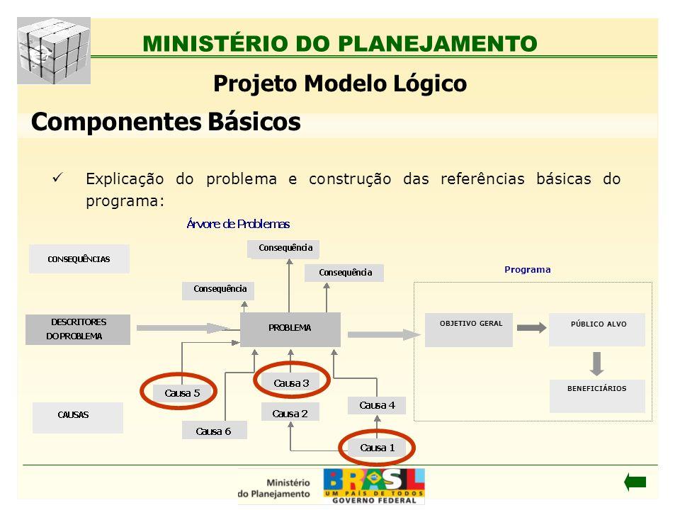 MINISTÉRIO DO PLANEJAMENTO Explicação do problema e construção das referências básicas do programa: Projeto Modelo Lógico Programa OBJETIVO GERAL PÚBL