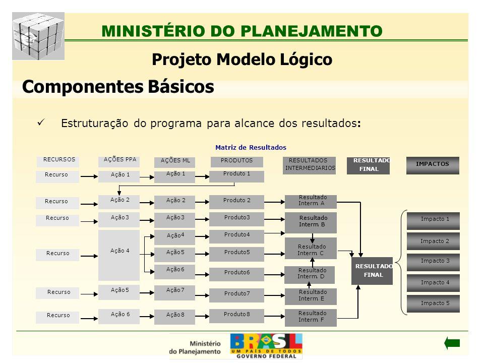 MINISTÉRIO DO PLANEJAMENTO Estruturação do programa para alcance dos resultados: Projeto Modelo Lógico Componentes Básicos