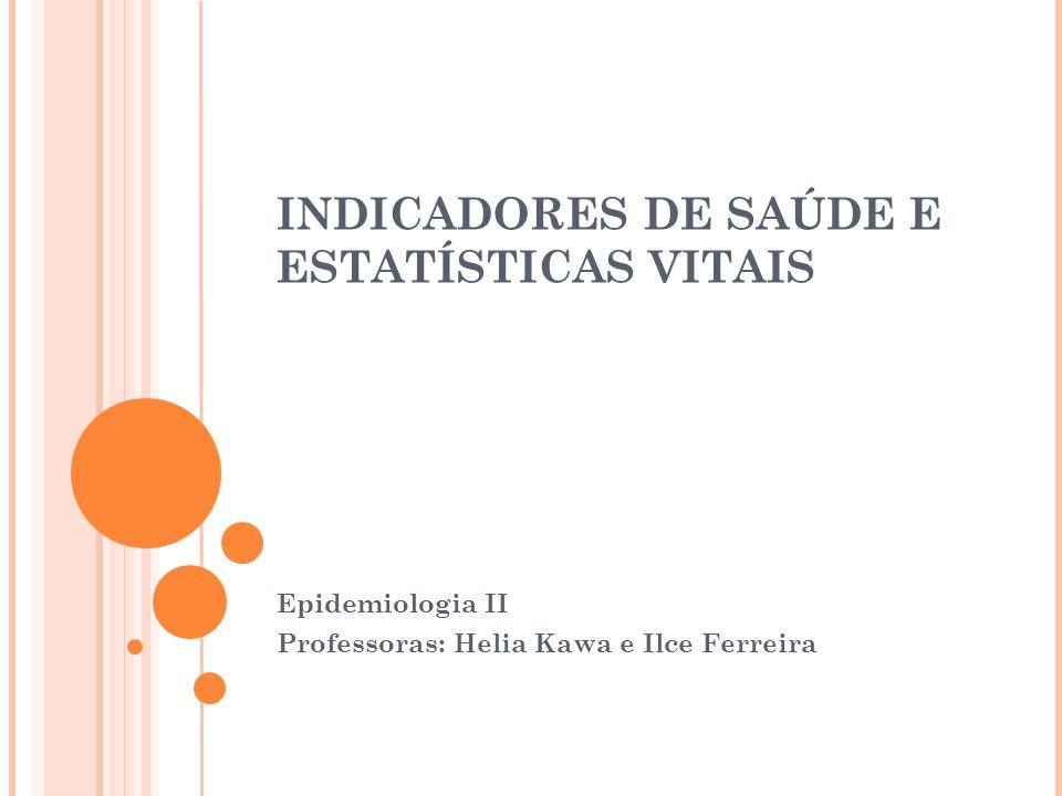 INDICADORES DE SAÚDE E ESTATÍSTICAS VITAIS Epidemiologia II Professoras: Helia Kawa e Ilce Ferreira