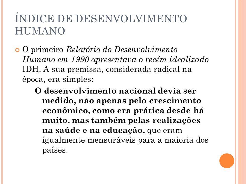 ÍNDICE DE DESENVOLVIMENTO HUMANO O primeiro Relatório do Desenvolvimento Humano em 1990 apresentava o recém idealizado IDH. A sua premissa, considerad