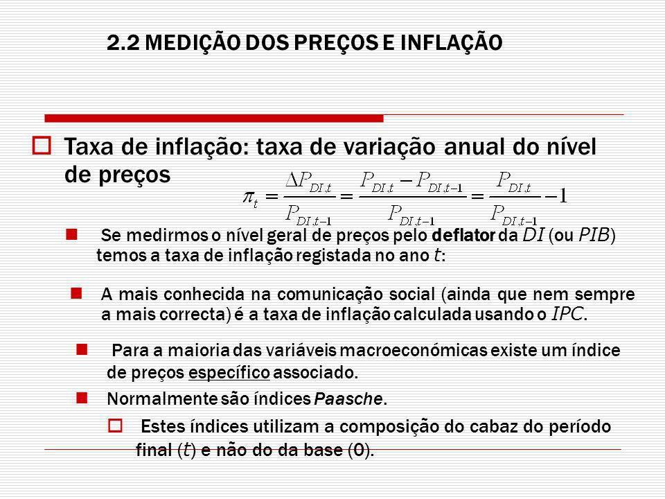 Taxa de inflação: taxa de variação anual do nível de preços Se medirmos o nível geral de preços pelo deflator da DI (ou PIB ) temos a taxa de inflação registada no ano t : A mais conhecida na comunicação social (ainda que nem sempre a mais correcta) é a taxa de inflação calculada usando o IPC.