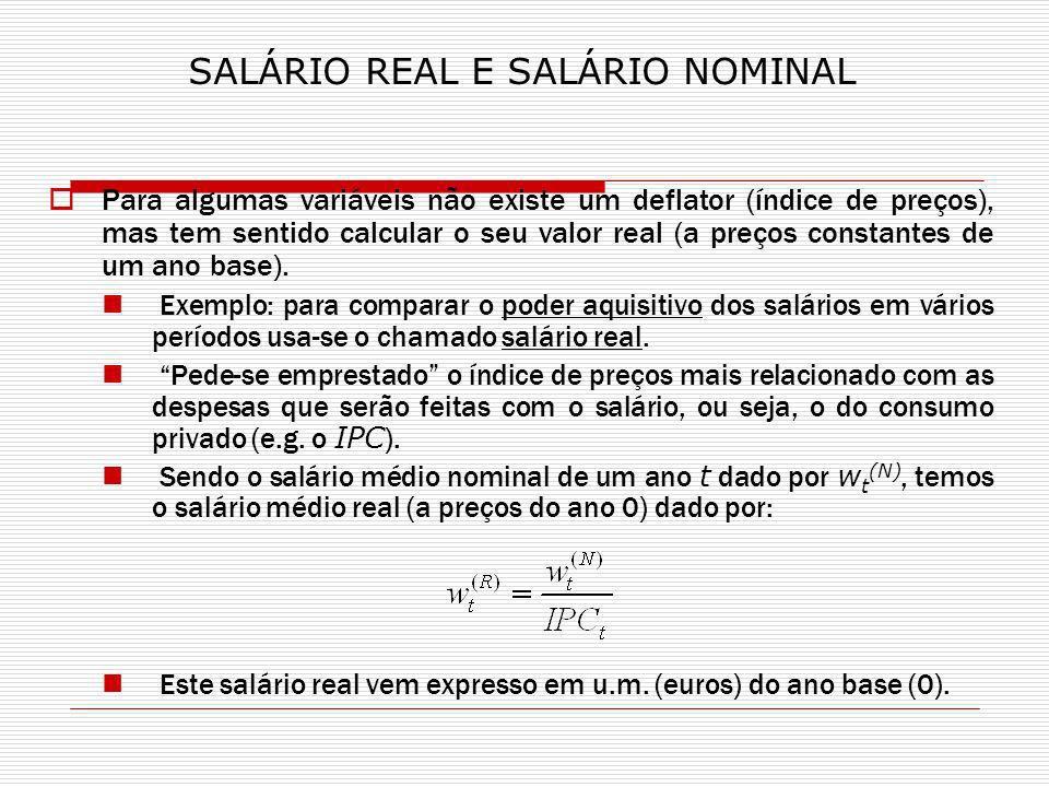 Para algumas variáveis não existe um deflator (índice de preços), mas tem sentido calcular o seu valor real (a preços constantes de um ano base).