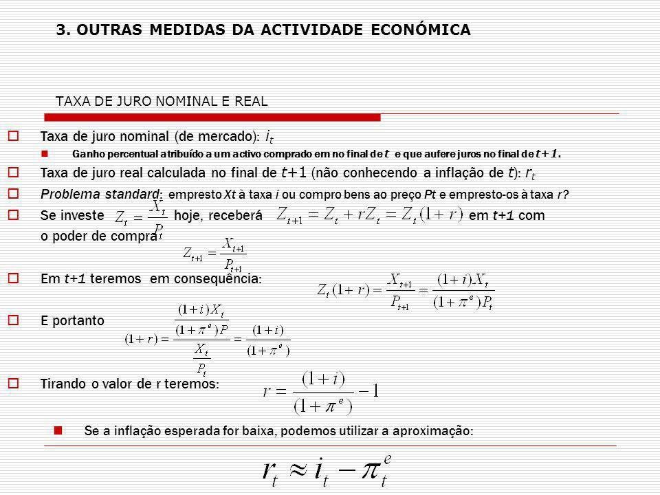 3. OUTRAS MEDIDAS DA ACTIVIDADE ECONÓMICA TAXA DE JURO NOMINAL E REAL Taxa de juro nominal (de mercado): i t Ganho percentual atribuído a um activo co