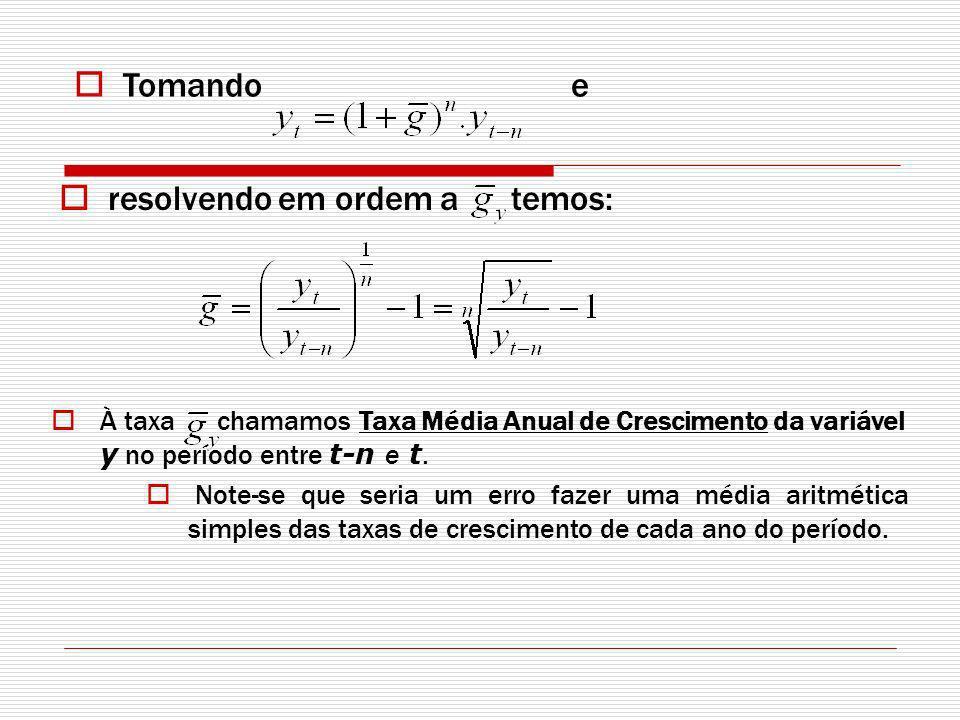 resolvendo em ordem a temos: À taxa chamamos Taxa Média Anual de Crescimento da variável y no período entre t-n e t.