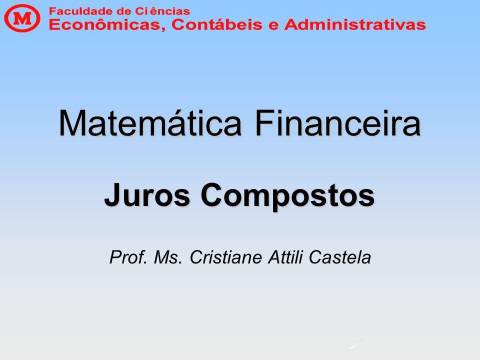 Matemática Financeira Juros Compostos Prof. Ms. Cristiane Attili Castela
