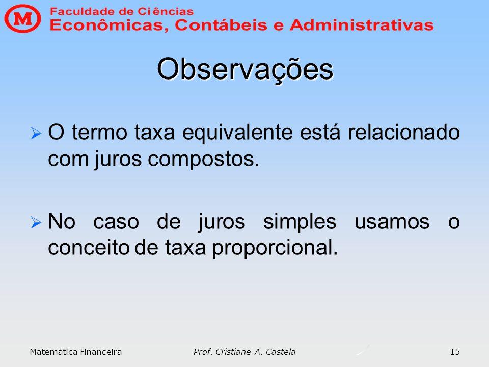 Matemática Financeira Prof. Cristiane A. Castela 15 Observações O termo taxa equivalente está relacionado com juros compostos. No caso de juros simple
