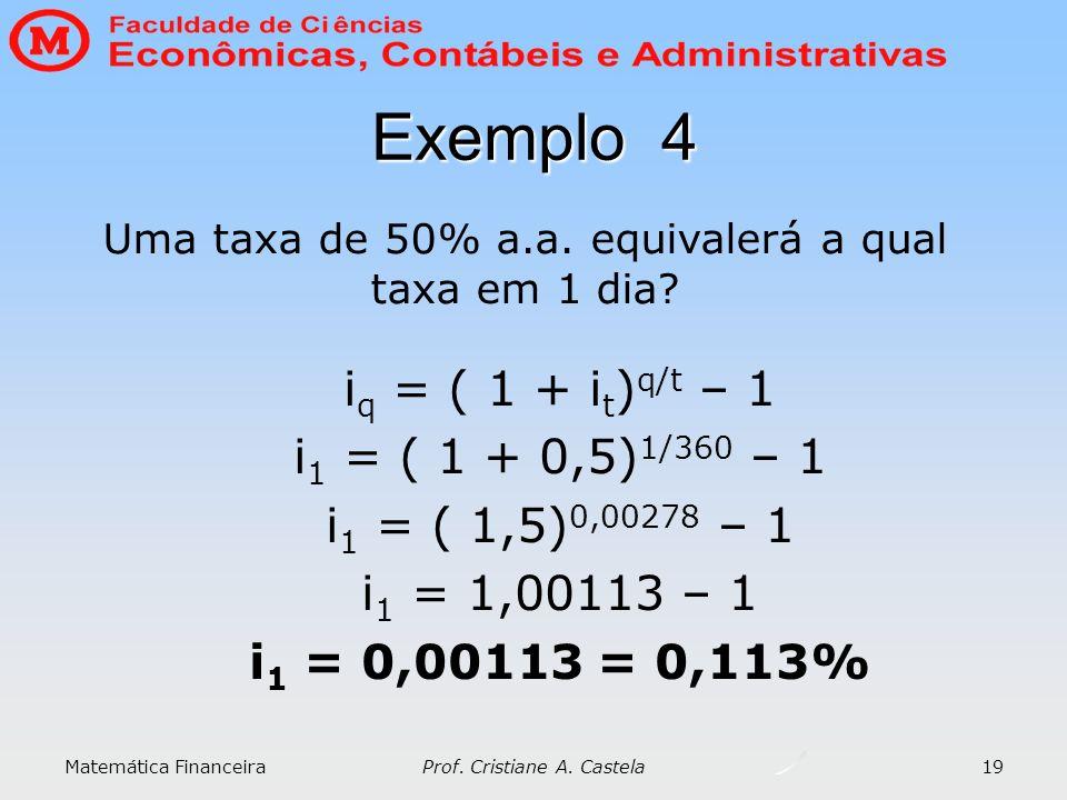 Matemática Financeira Prof. Cristiane A. Castela 19 Exemplo 4 i q = ( 1 + i t ) q/t – 1 i 1 = ( 1 + 0,5) 1/360 – 1 i 1 = ( 1,5) 0,00278 – 1 i 1 = 1,00