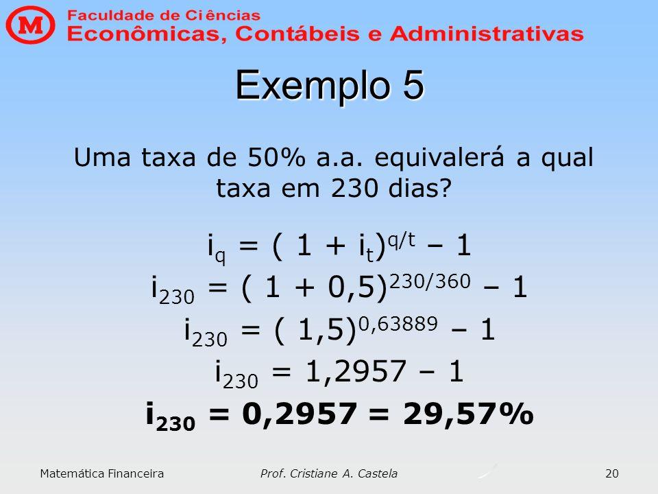 Matemática Financeira Prof. Cristiane A. Castela 20 Exemplo 5 i q = ( 1 + i t ) q/t – 1 i 230 = ( 1 + 0,5) 230/360 – 1 i 230 = ( 1,5) 0,63889 – 1 i 23