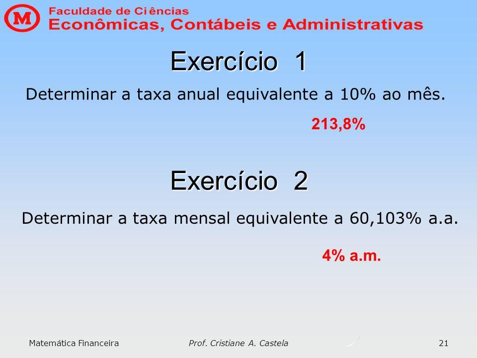 Matemática Financeira Prof. Cristiane A. Castela 21 Exercício 1 Determinar a taxa anual equivalente a 10% ao mês. 213,8% Exercício 2 Determinar a taxa