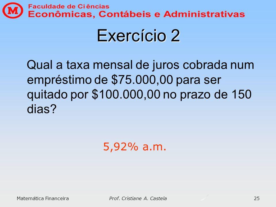 Matemática Financeira Prof. Cristiane A. Castela 25 Exercício 2 Qual a taxa mensal de juros cobrada num empréstimo de $75.000,00 para ser quitado por