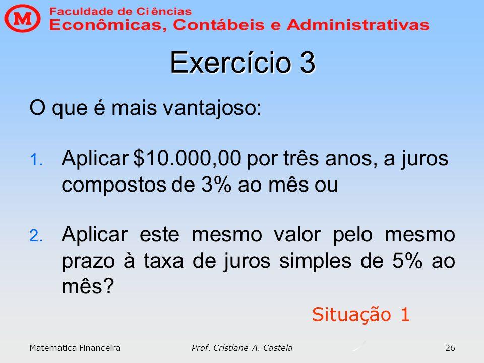 Matemática Financeira Prof. Cristiane A. Castela 26 Exercício 3 O que é mais vantajoso: 1. Aplicar $10.000,00 por três anos, a juros compostos de 3% a