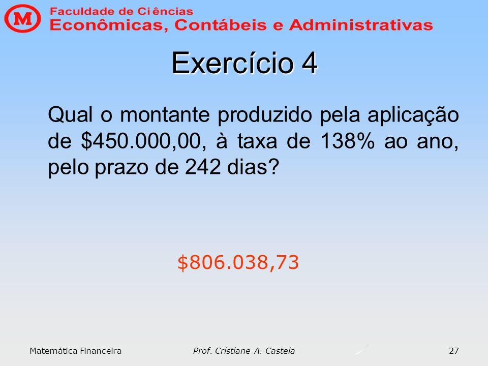 Matemática Financeira Prof. Cristiane A. Castela 27 Exercício 4 Qual o montante produzido pela aplicação de $450.000,00, à taxa de 138% ao ano, pelo p