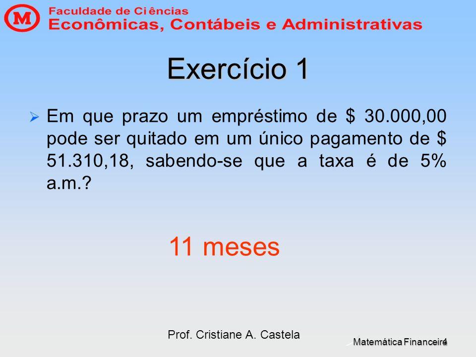 Matemática Financeira Prof. Cristiane A. Castela 4 Exercício 1 Em que prazo um empréstimo de $ 30.000,00 pode ser quitado em um único pagamento de $ 5