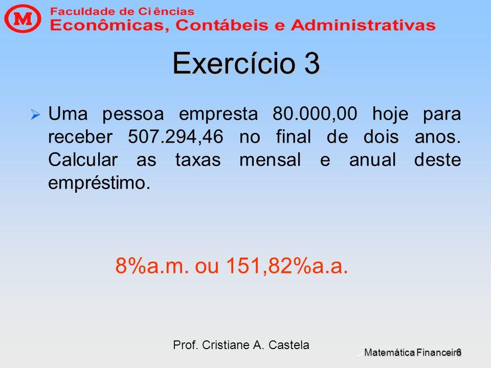 Matemática Financeira Prof. Cristiane A. Castela 6 Exercício 3 Uma pessoa empresta 80.000,00 hoje para receber 507.294,46 no final de dois anos. Calcu