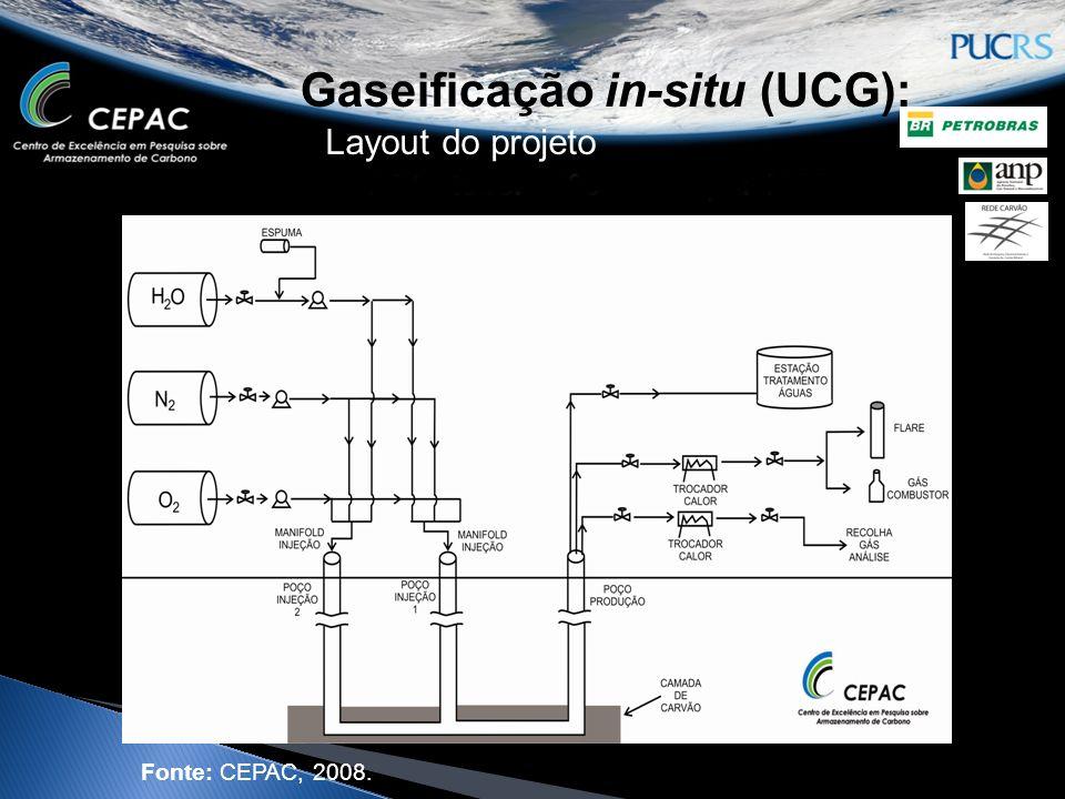 Gaseificação in-situ (UCG): Layout do projeto Fonte: CEPAC, 2008.
