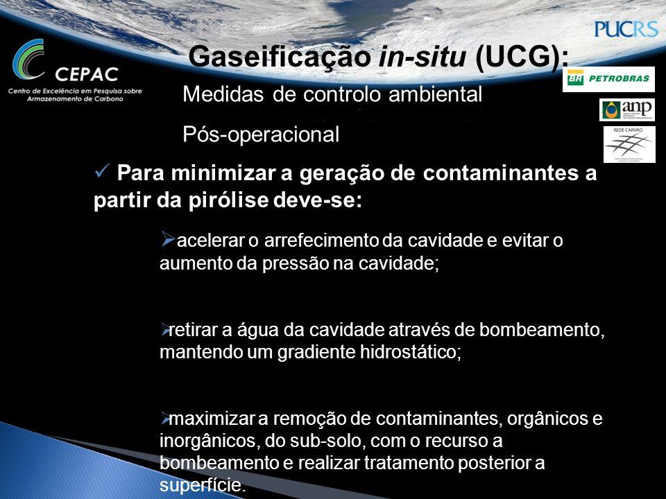 Gaseificação in-situ (UCG): Medidas de controlo ambiental Pós-operacional Para minimizar a geração de contaminantes a partir da pirólise deve-se: acel