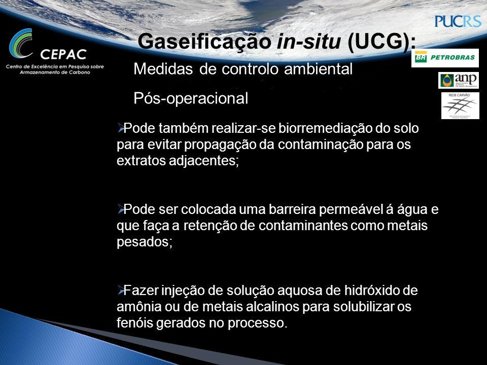 Gaseificação in-situ (UCG): Medidas de controlo ambiental Pós-operacional Pode também realizar-se biorremediação do solo para evitar propagação da con