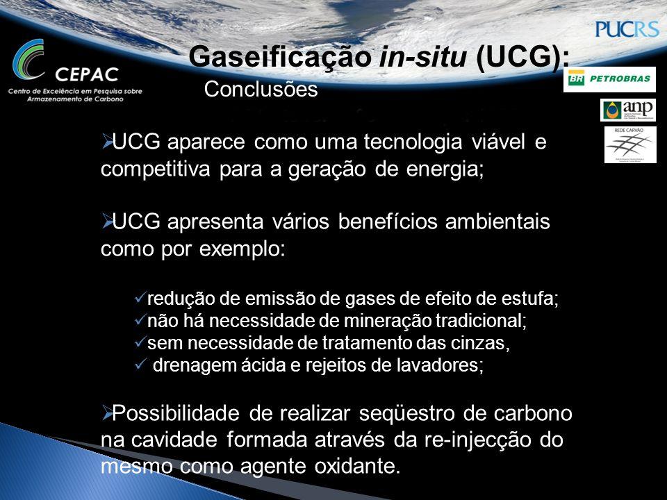 Gaseificação in-situ (UCG): Conclusões UCG aparece como uma tecnologia viável e competitiva para a geração de energia; UCG apresenta vários benefícios