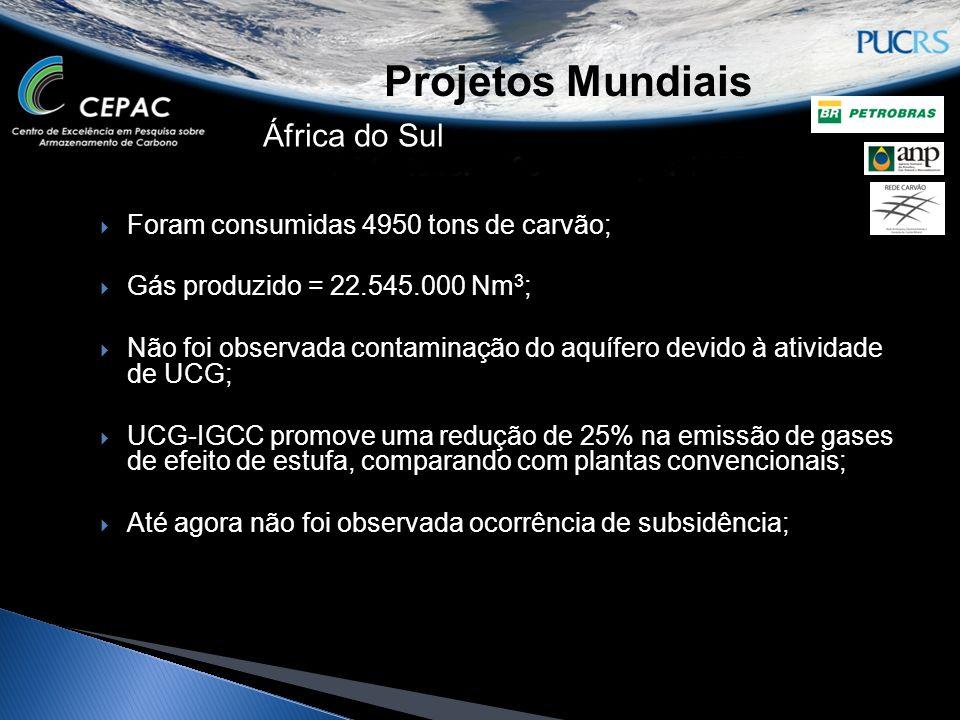 Projetos Mundiais África do Sul Foram consumidas 4950 tons de carvão; Gás produzido = 22.545.000 Nm 3 ; Não foi observada contaminação do aquífero dev