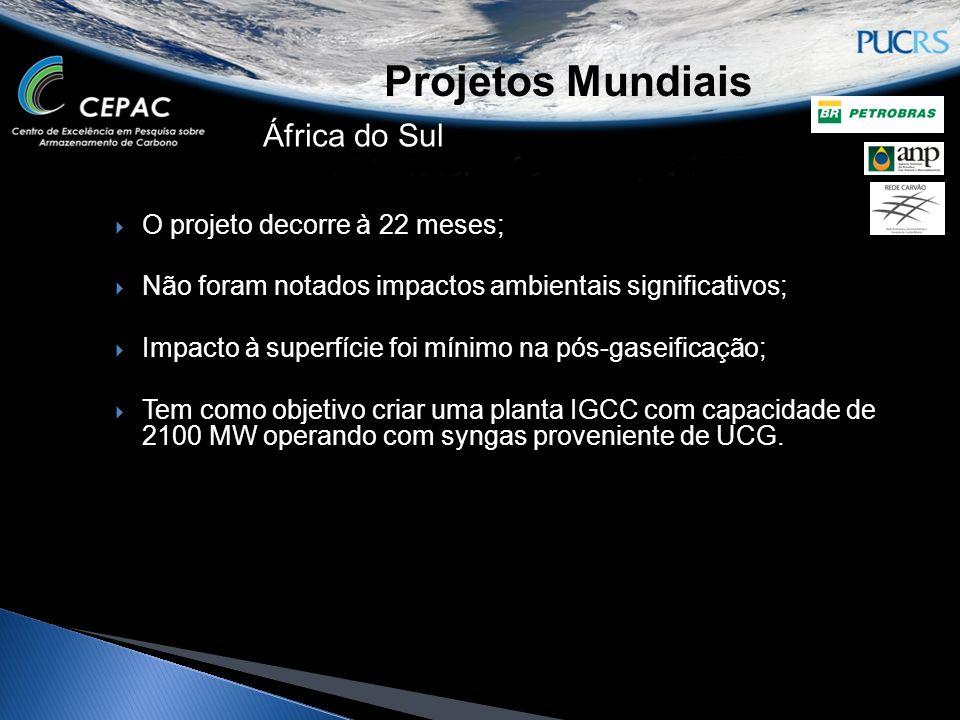 Projetos Mundiais África do Sul O projeto decorre à 22 meses; Não foram notados impactos ambientais significativos; Impacto à superfície foi mínimo na