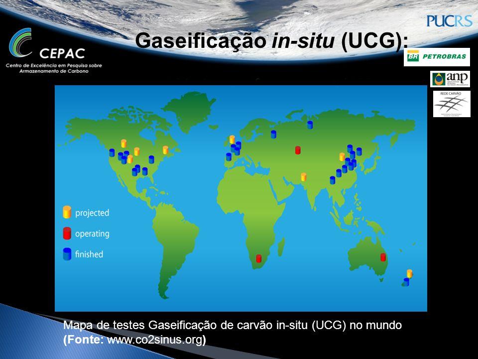 Gaseificação in-situ (UCG): Mapa de testes Gaseificação de carvão in-situ (UCG) no mundo (Fonte: www.co2sinus.org)