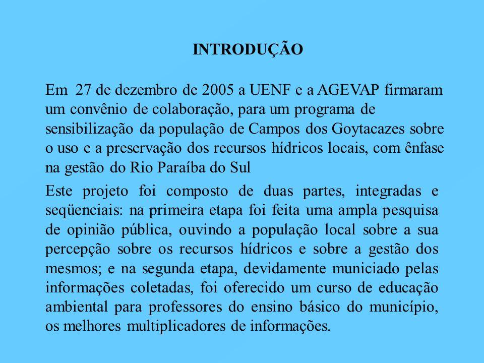 INTRODUÇÃO Em 27 de dezembro de 2005 a UENF e a AGEVAP firmaram um convênio de colaboração, para um programa de sensibilização da população de Campos
