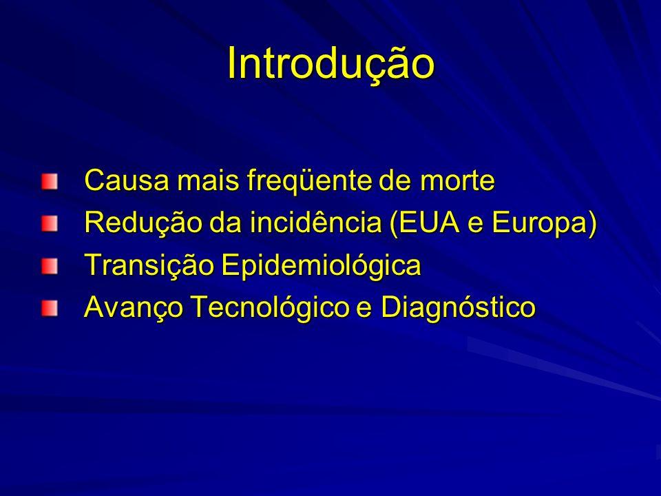 Introdução Causa mais freqüente de morte Redução da incidência (EUA e Europa) Transição Epidemiológica Avanço Tecnológico e Diagnóstico