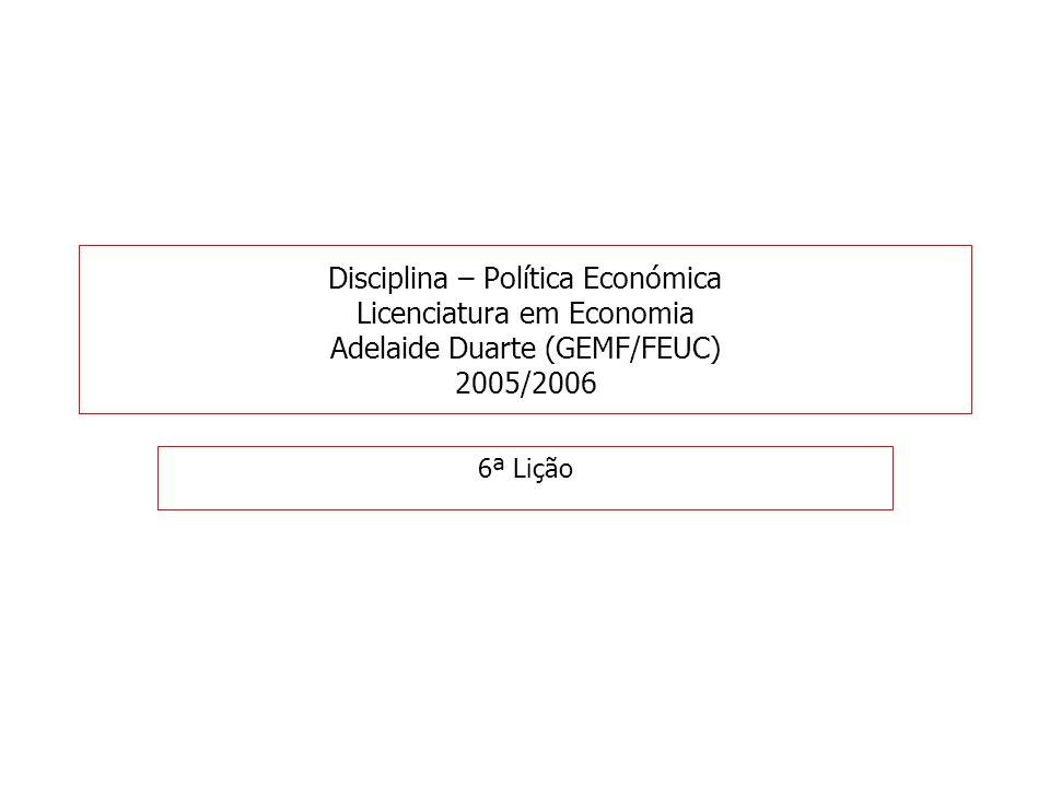 Disciplina – Política Económica Licenciatura em Economia Adelaide Duarte (GEMF/FEUC) 2005/2006 6ª Lição