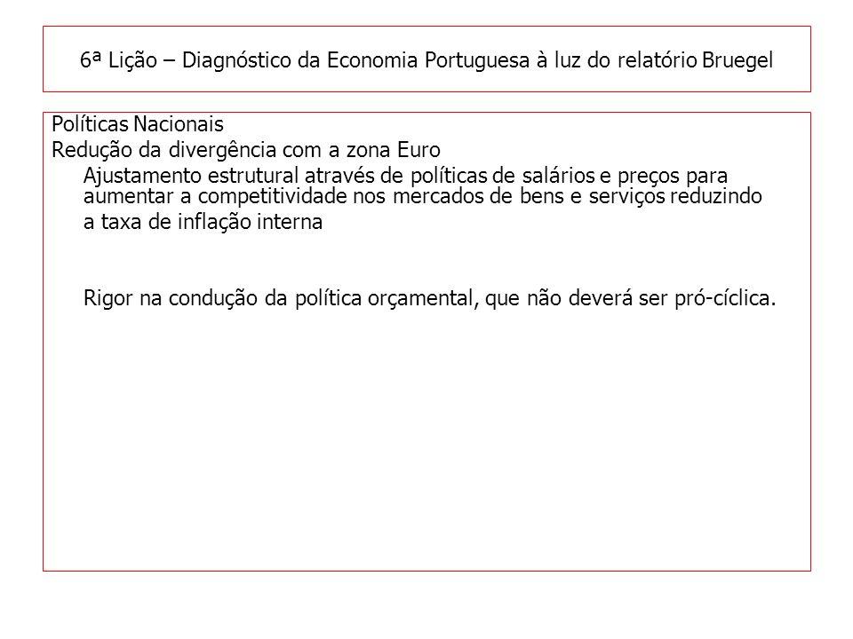 Políticas Nacionais Redução da divergência com a zona Euro Ajustamento estrutural através de políticas de salários e preços para aumentar a competitividade nos mercados de bens e serviços reduzindo a taxa de inflação interna Rigor na condução da política orçamental, que não deverá ser pró-cíclica.