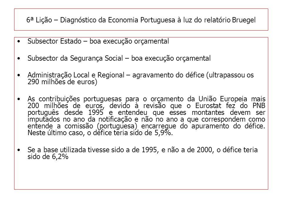 Subsector Estado – boa execução orçamental Subsector da Segurança Social – boa execução orçamental Administração Local e Regional – agravamento do défice (ultrapassou os 290 milhões de euros) As contribuições portuguesas para o orçamento da União Europeia mais 200 milhões de euros, devido à revisão que o Eurostat fez do PNB português desde 1995 e entendeu que esses montantes devem ser imputados no ano da notificação e não no ano a que correspondem como entende a comissão (portuguesa) encarregue do apuramento do défice.