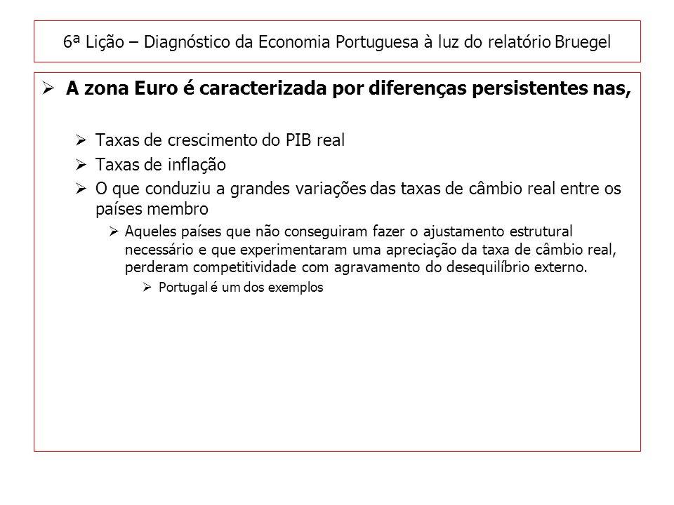 A zona Euro é caracterizada por diferenças persistentes nas, Taxas de crescimento do PIB real Taxas de inflação O que conduziu a grandes variações das taxas de câmbio real entre os países membro Aqueles países que não conseguiram fazer o ajustamento estrutural necessário e que experimentaram uma apreciação da taxa de câmbio real, perderam competitividade com agravamento do desequilíbrio externo.