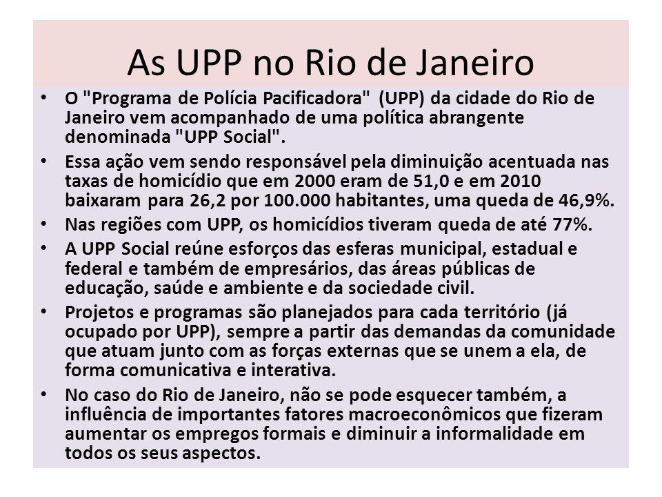 As UPP no Rio de Janeiro O Programa de Polícia Pacificadora (UPP) da cidade do Rio de Janeiro vem acompanhado de uma política abrangente denominada UPP Social .