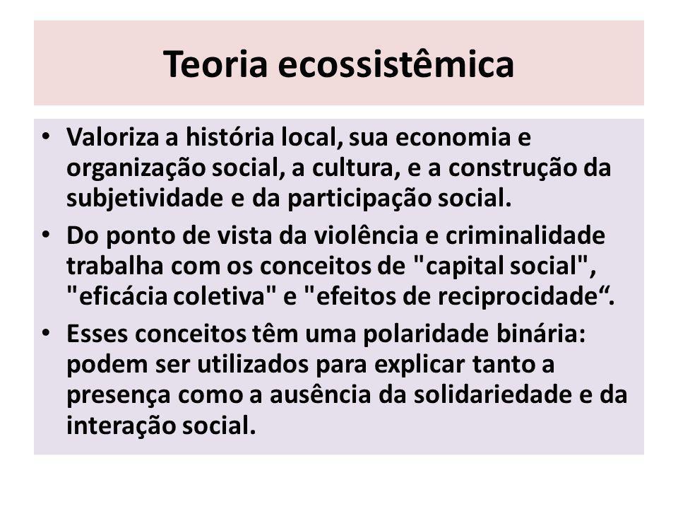 Teoria ecossistêmica Valoriza a história local, sua economia e organização social, a cultura, e a construção da subjetividade e da participação social.