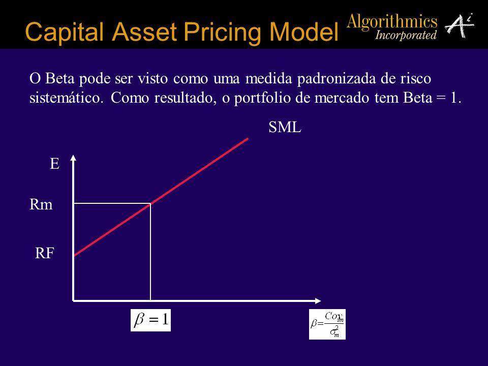 Capital Asset Pricing Model O Beta pode ser visto como uma medida padronizada de risco sistemático. Como resultado, o portfolio de mercado tem Beta =