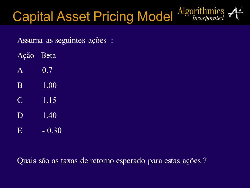 Capital Asset Pricing Model Assuma as seguintes ações : Ação Beta A0.7 B1.00 C1.15 D1.40 E- 0.30 Quais são as taxas de retorno esperado para estas açõ