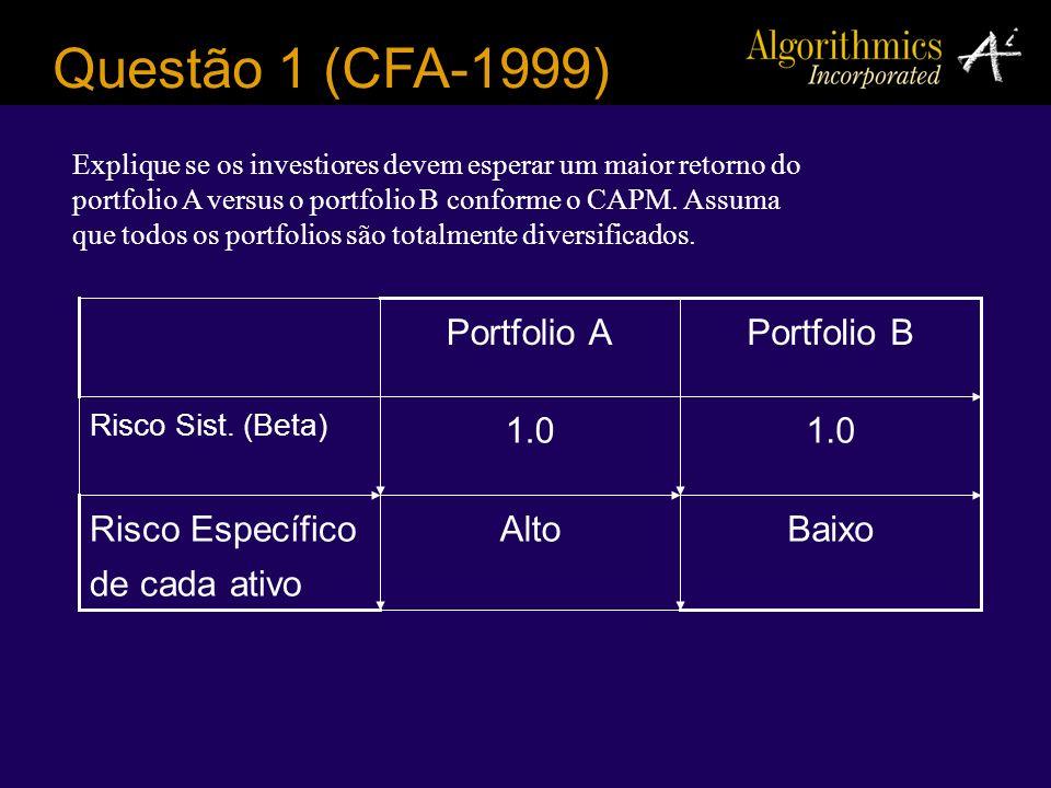 Questão 1 (CFA-1999) Explique se os investiores devem esperar um maior retorno do portfolio A versus o portfolio B conforme o CAPM. Assuma que todos o