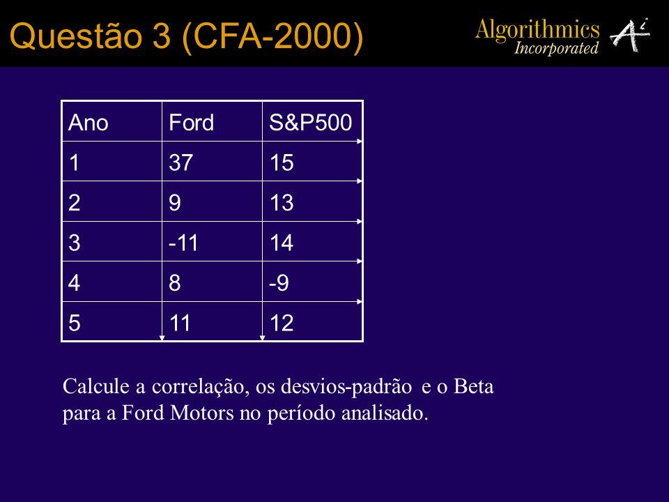 Questão 3 (CFA-2000) 12115 -984 14-113 1392 15371 S&P500FordAno Calcule a correlação, os desvios-padrão e o Beta para a Ford Motors no período analisa