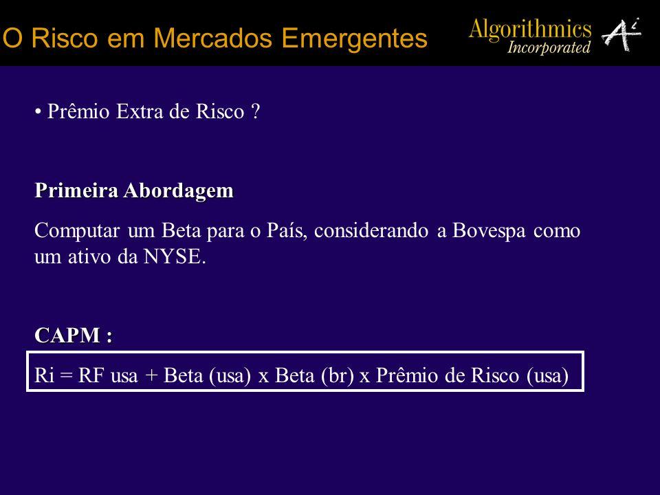 O Risco em Mercados Emergentes Prêmio Extra de Risco ? Primeira Abordagem Computar um Beta para o País, considerando a Bovespa como um ativo da NYSE.