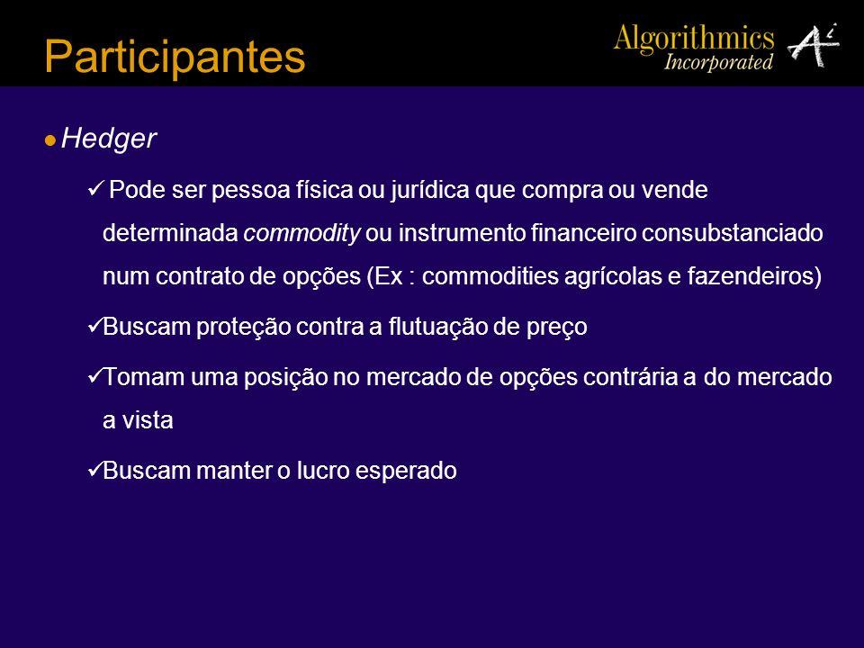 Participantes Hedger Pode ser pessoa física ou jurídica que compra ou vende determinada commodity ou instrumento financeiro consubstanciado num contra