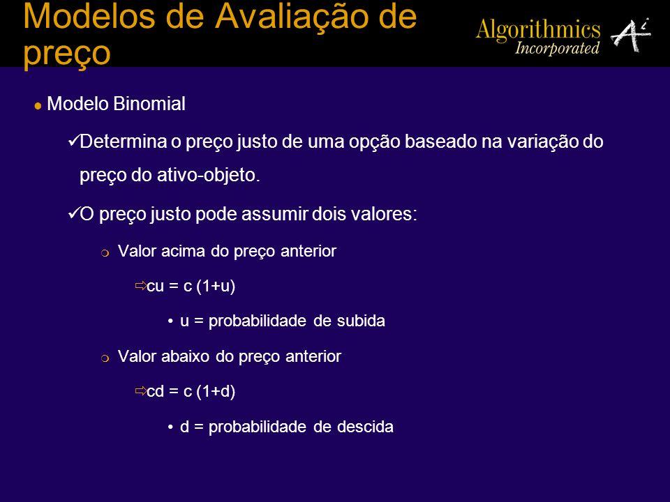 Modelos de Avaliação de preço Modelo Binomial Determina o preço justo de uma opção baseado na variação do preço do ativo-objeto. O preço justo pode as