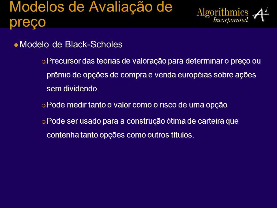 Modelos de Avaliação de preço Modelo de Black-Scholes Precursor das teorias de valoração para determinar o preço ou prêmio de opções de compra e venda