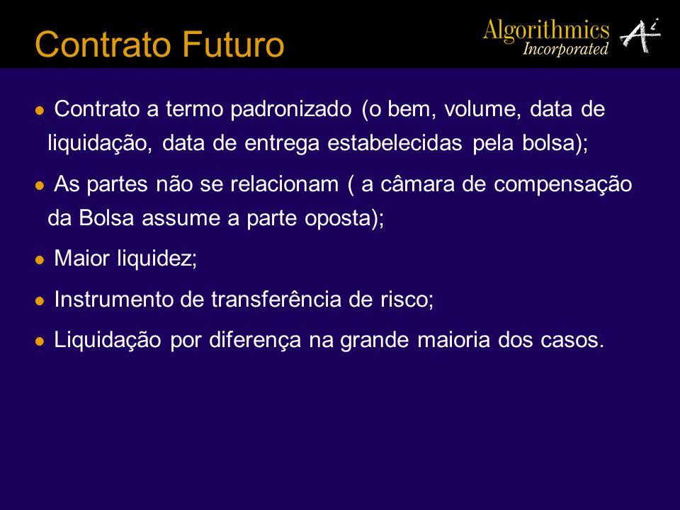 Contrato Futuro Contrato a termo padronizado (o bem, volume, data de liquidação, data de entrega estabelecidas pela bolsa); As partes não se relaciona