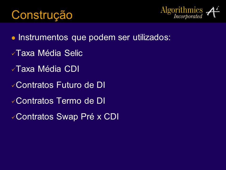 Construção Instrumentos que podem ser utilizados: Taxa Média Selic Taxa Média CDI Contratos Futuro de DI Contratos Termo de DI Contratos Swap Pré x CD