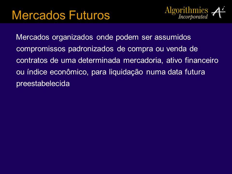 Mercados Futuros Mercados organizados onde podem ser assumidos compromissos padronizados de compra ou venda de contratos de uma determinada mercadoria
