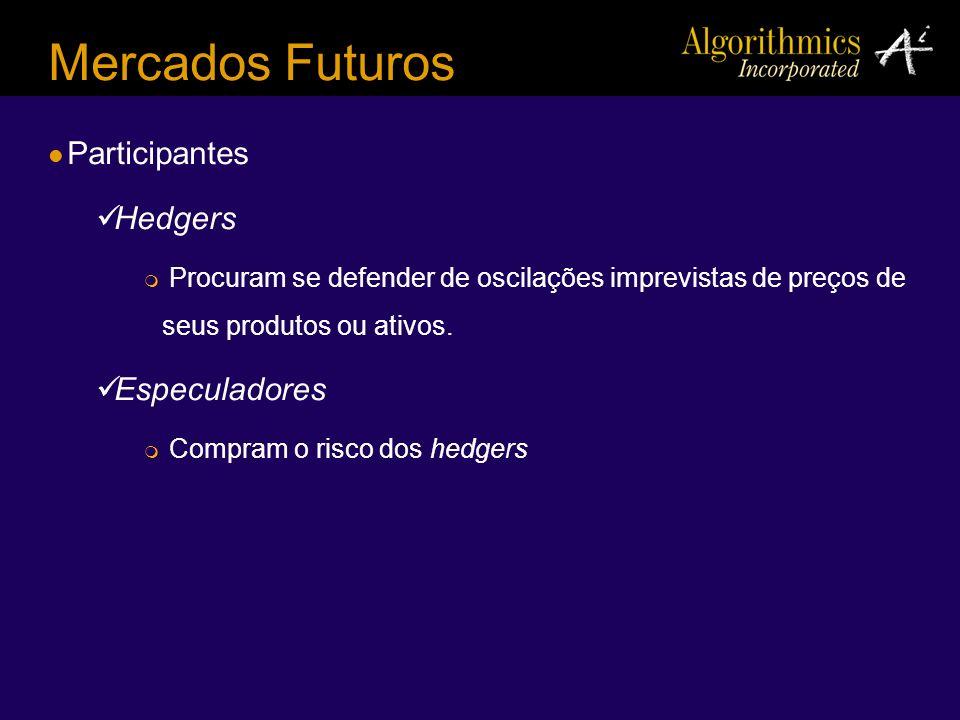 Mercados Futuros Participantes Hedgers Procuram se defender de oscilações imprevistas de preços de seus produtos ou ativos. Especuladores Compram o ri