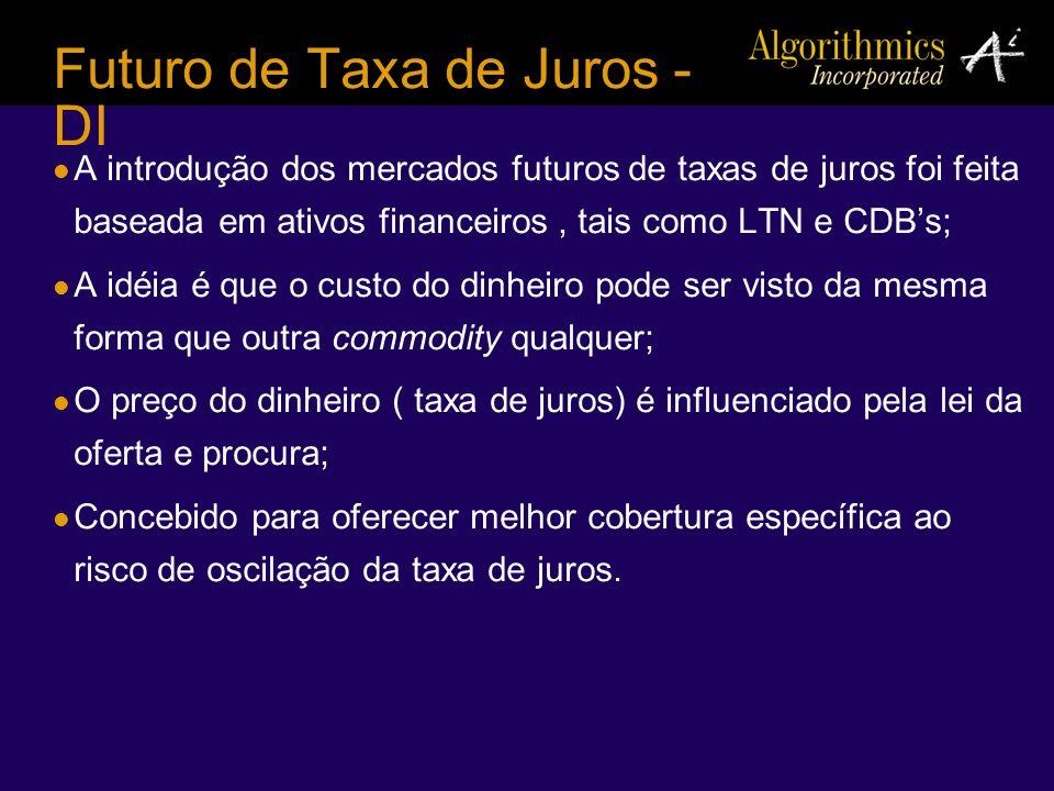 Futuro de Taxa de Juros - DI A introdução dos mercados futuros de taxas de juros foi feita baseada em ativos financeiros, tais como LTN e CDBs; A idéi