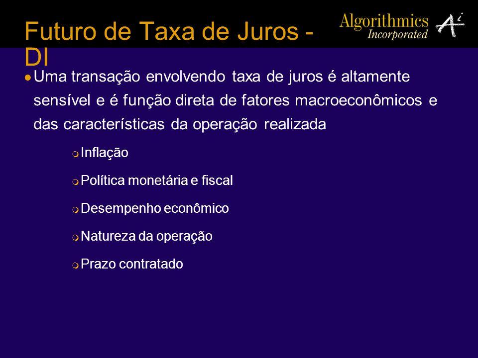 Futuro de Taxa de Juros - DI Uma transação envolvendo taxa de juros é altamente sensível e é função direta de fatores macroeconômicos e das caracterís