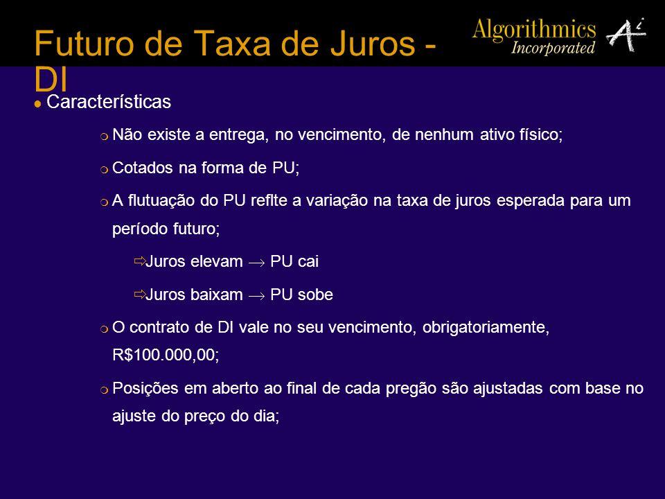 Futuro de Taxa de Juros - DI Características Não existe a entrega, no vencimento, de nenhum ativo físico; Cotados na forma de PU; A flutuação do PU re