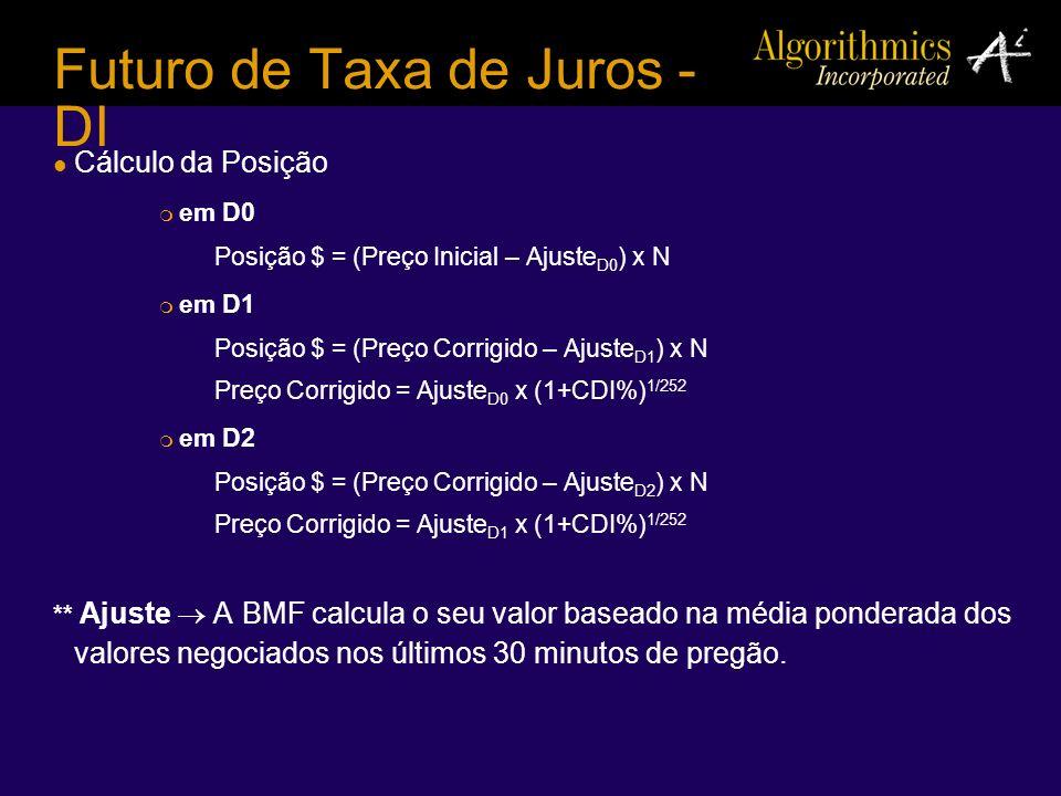 Futuro de Taxa de Juros - DI Cálculo da Posição em D0 Posição $ = (Preço Inicial – Ajuste D0 ) x N em D1 Posição $ = (Preço Corrigido – Ajuste D1 ) x