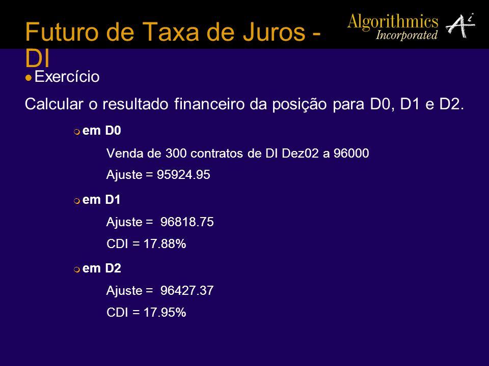 Futuro de Taxa de Juros - DI Exercício Calcular o resultado financeiro da posição para D0, D1 e D2. em D0 Venda de 300 contratos de DI Dez02 a 96000 A